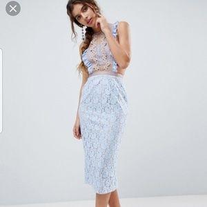 Asos Lace Pencil Midi Dress Frill Pinny Bodice